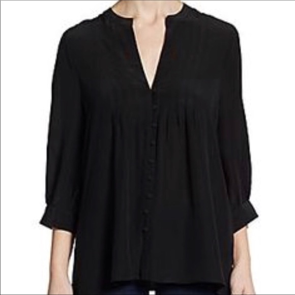 8275613656 Joie Tops | Mesa Black Pintuck Vneck Top Size Large 256 | Poshmark